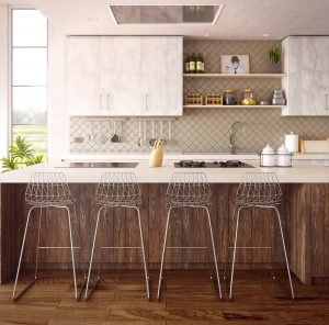 cuisine ouverte avec bar et chaises hautes