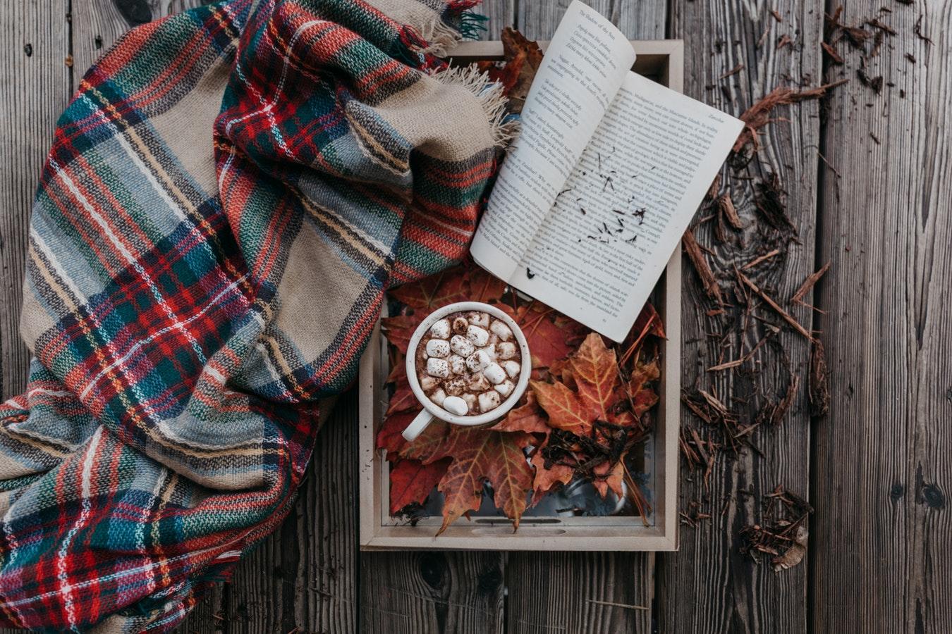 Préparatifs pour une soirée cocooning : plaid, chocolat chaud et livre posés sur un plateau